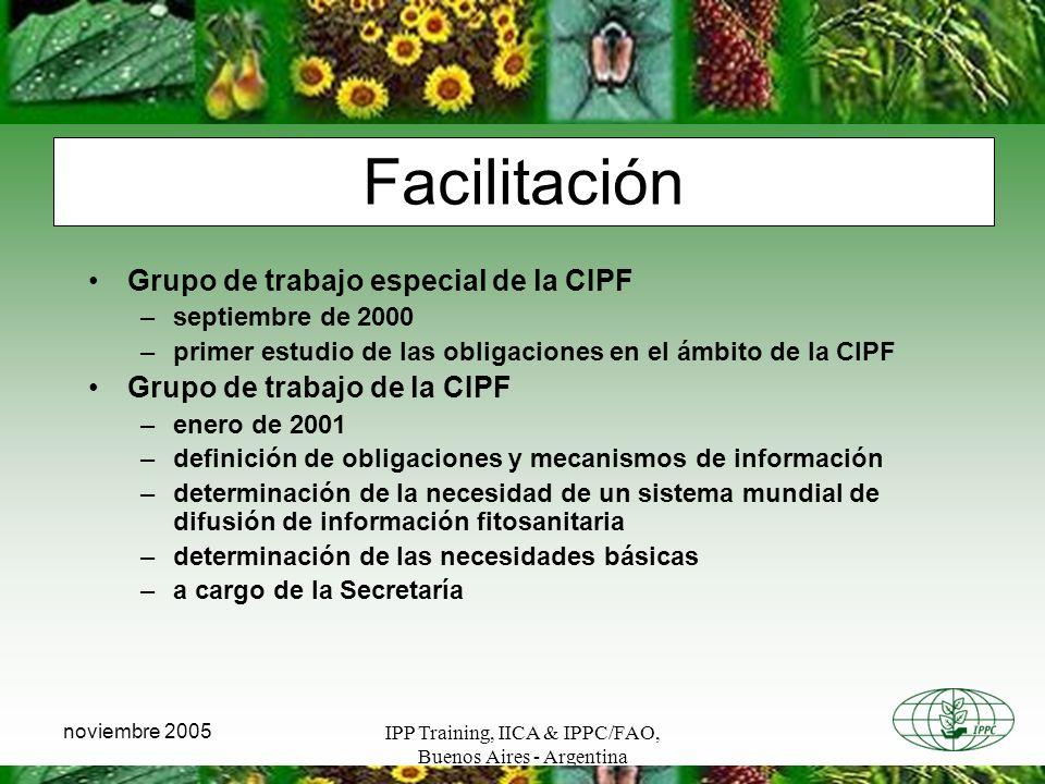 Facilitación Grupo de trabajo especial de la CIPF