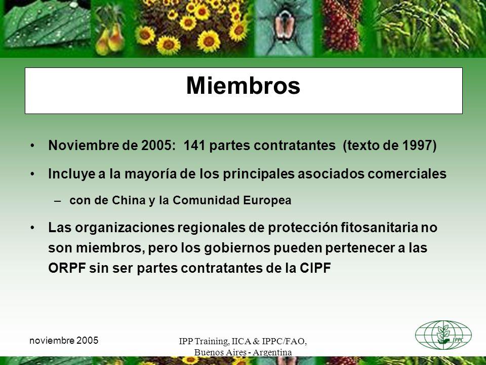 Miembros Noviembre de 2005: 141 partes contratantes (texto de 1997)
