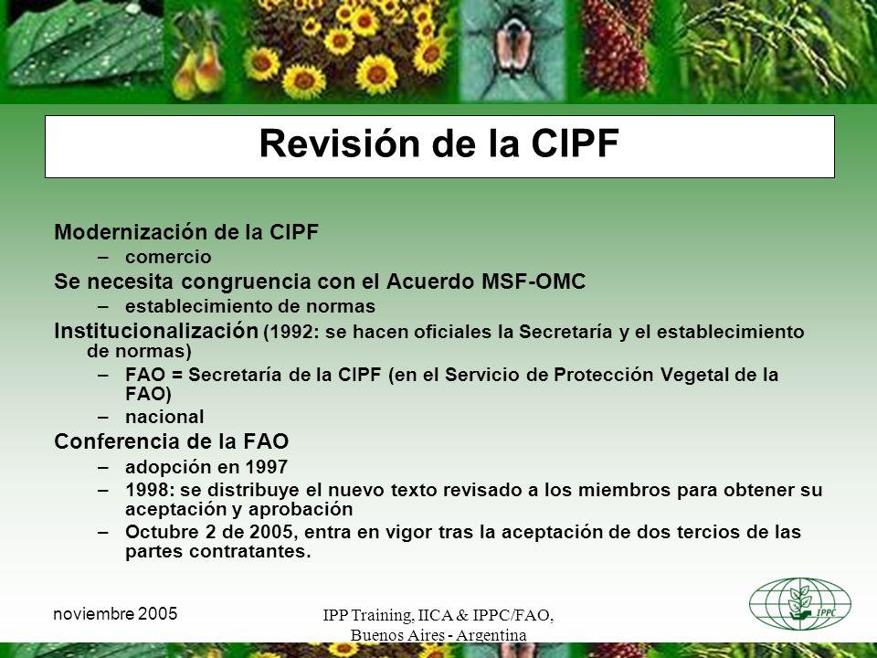 Revisión de la CIPF Modernización de la CIPF