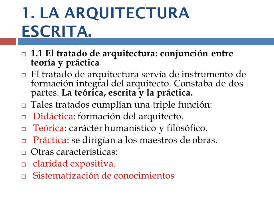 1. LA ARQUITECTURA ESCRITA.