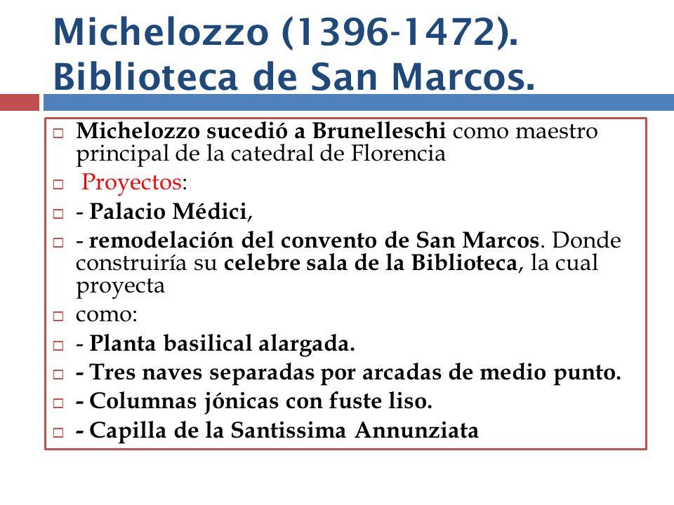 Michelozzo (1396-1472). Biblioteca de San Marcos.