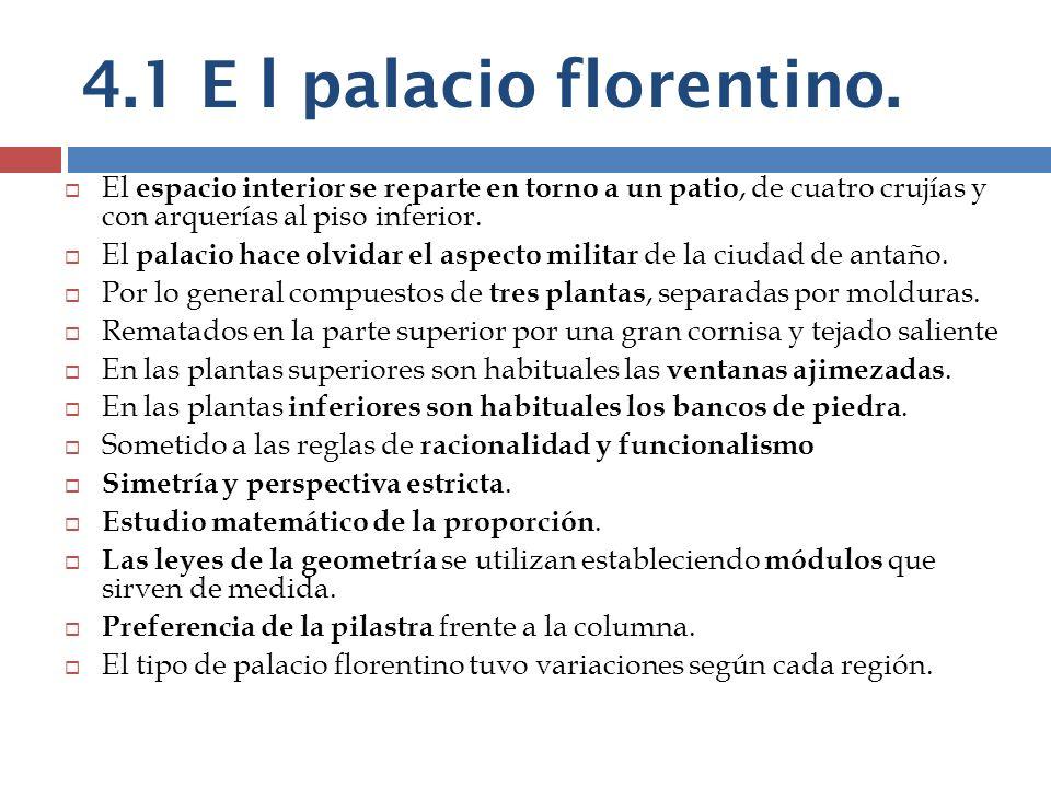 4.1 E l palacio florentino. El espacio interior se reparte en torno a un patio, de cuatro crujías y con arquerías al piso inferior.