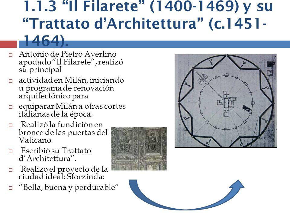 1. 1. 3 Il Filarete (1400-1469) y su Trattato d'Architettura (c