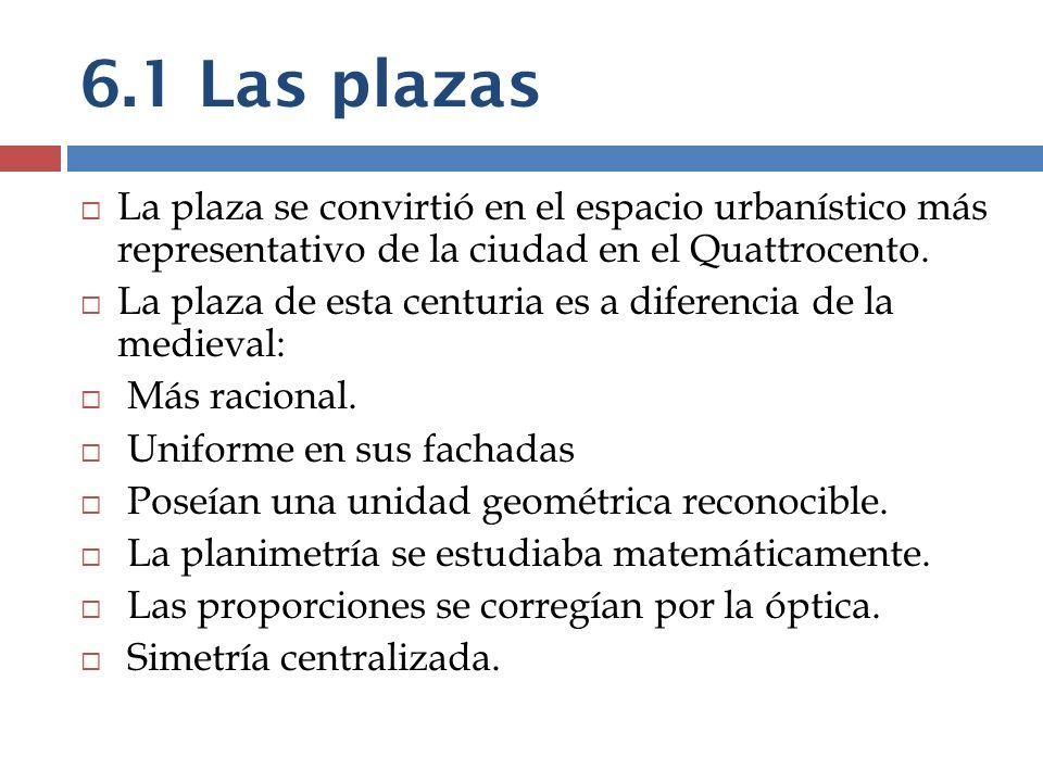 6.1 Las plazas La plaza se convirtió en el espacio urbanístico más representativo de la ciudad en el Quattrocento.
