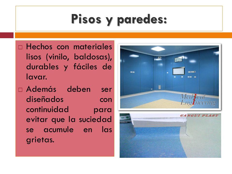 Pisos y paredes:Hechos con materiales lisos (vinilo, baldosas), durables y fáciles de lavar.