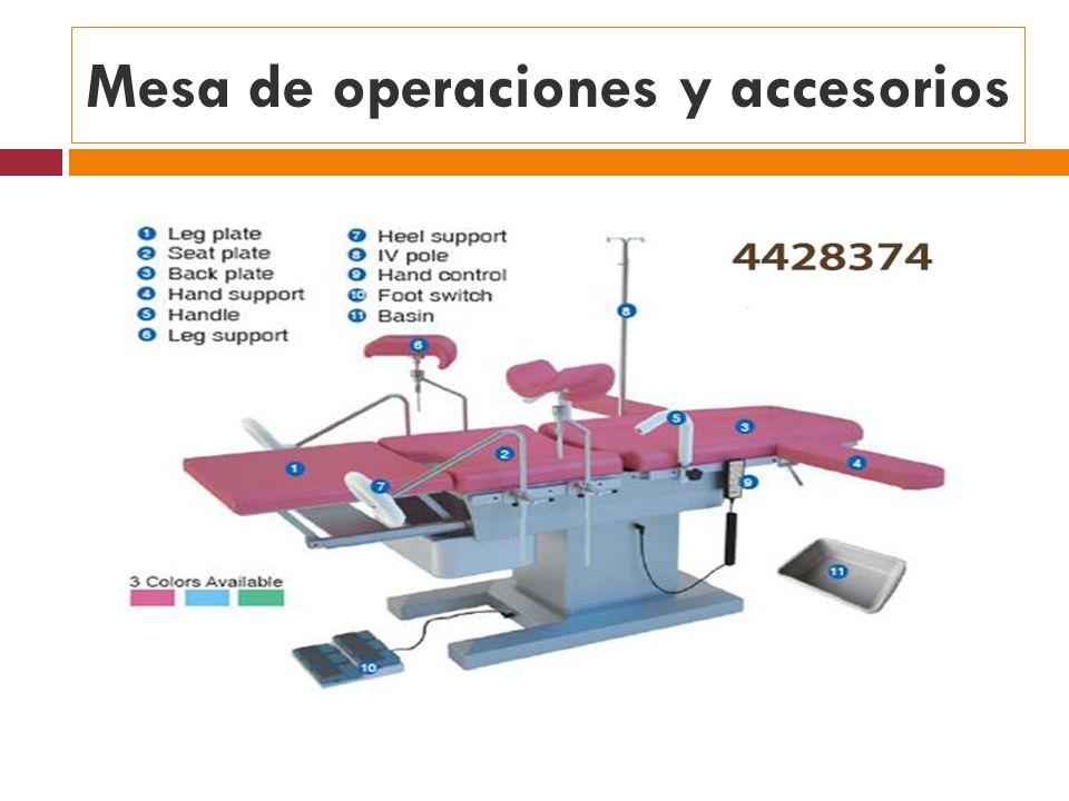 Mesa de operaciones y accesorios