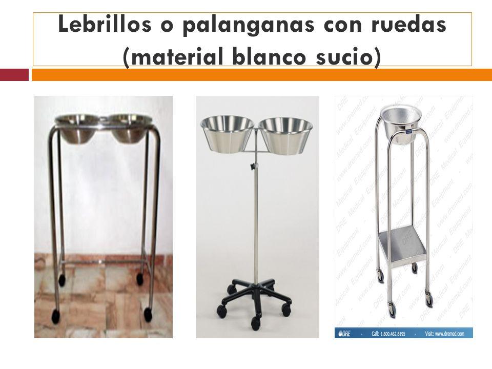 Lebrillos o palanganas con ruedas (material blanco sucio)