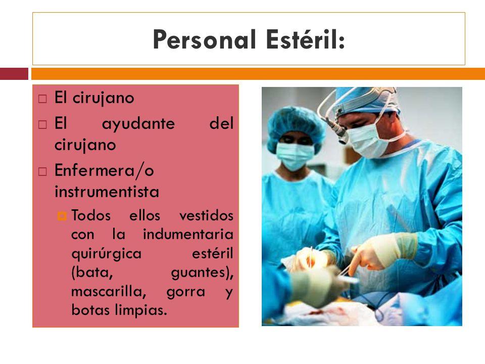 Personal Estéril: El cirujano El ayudante del cirujano