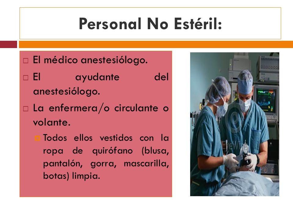 Personal No Estéril: El médico anestesiólogo.