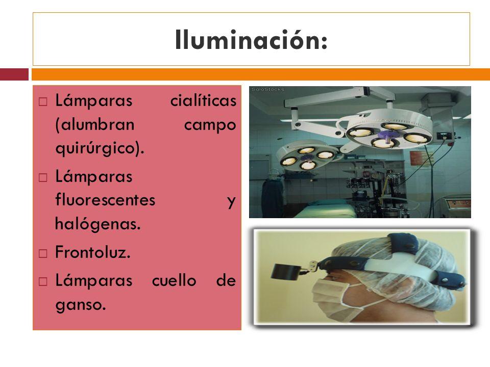Iluminación: Lámparas cialíticas (alumbran campo quirúrgico).