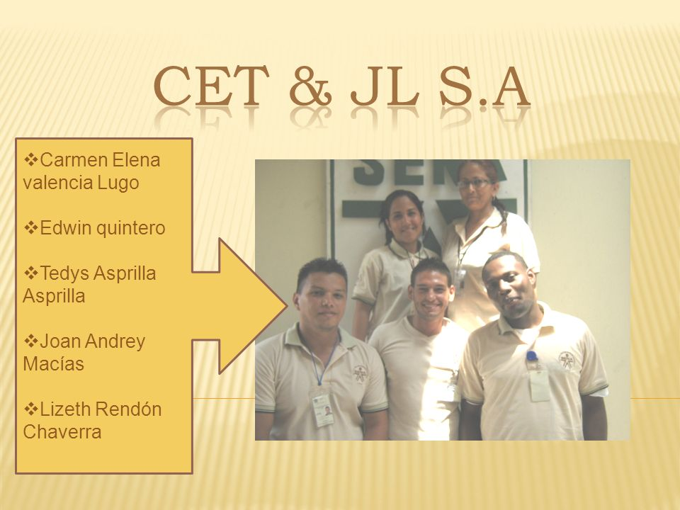 Cet & jl s.a Carmen Elena valencia Lugo Edwin quintero