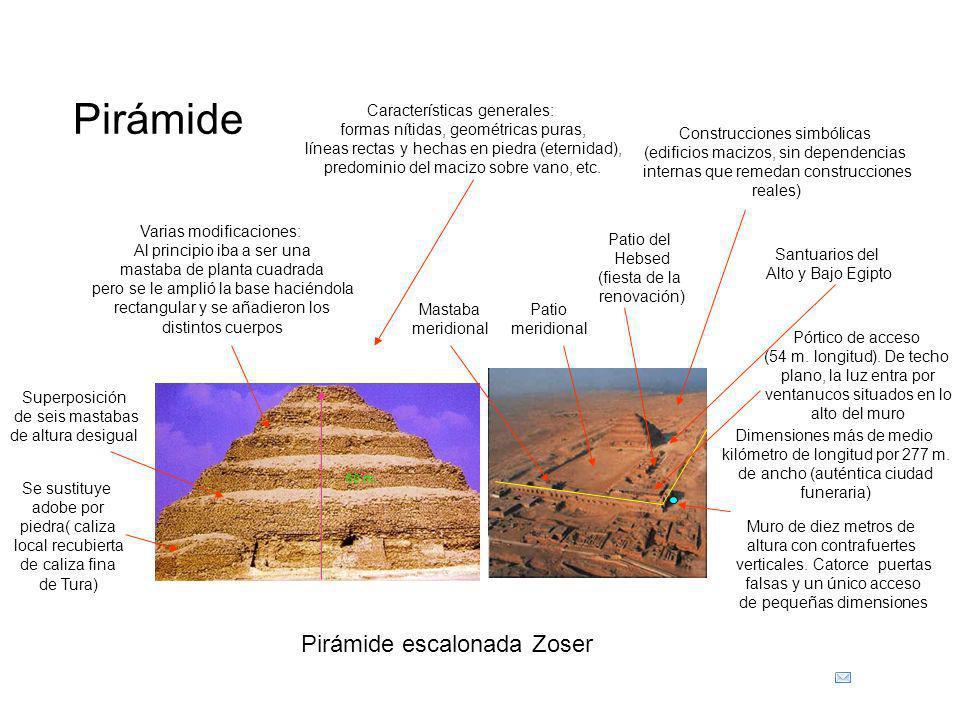 Pirámide Pirámide escalonada Zoser Características generales: