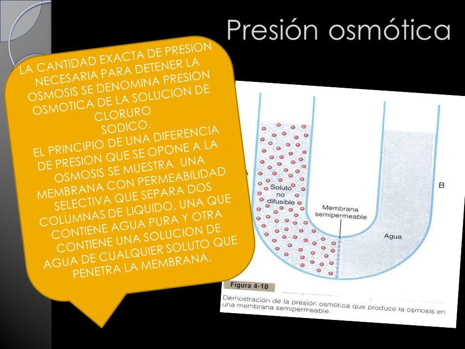 Presión osmótica LA CANTIDAD EXACTA DE PRESION NECESARIA PARA DETENER LA OSMOSIS SE DENOMINA PRESION OSMOTICA DE LA SOLUCION DE CLORURO.