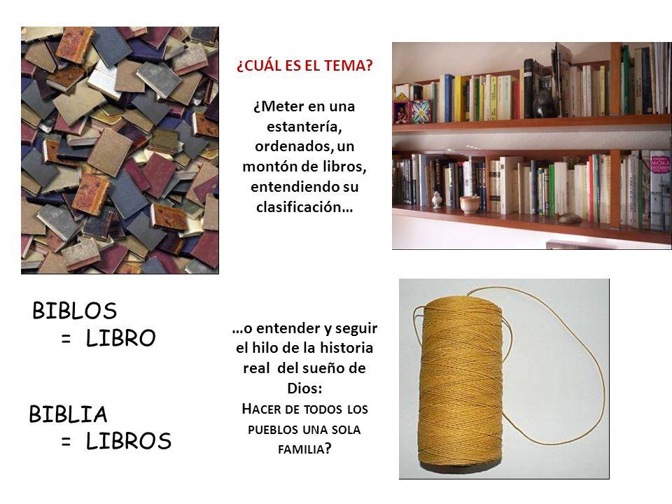 = LIBRO BIBLIA = LIBROS ¿CUÁL ES EL TEMA