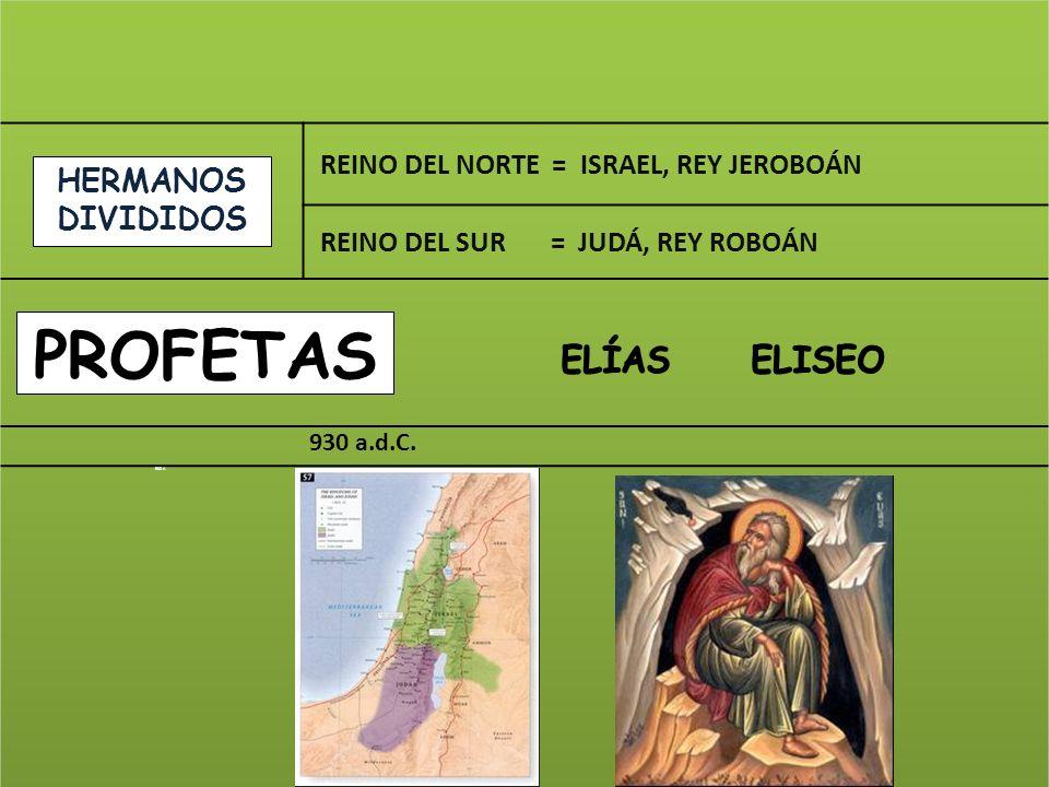 ELÍAS ELISEO profetaS HERMANOS DIVIDIDOS