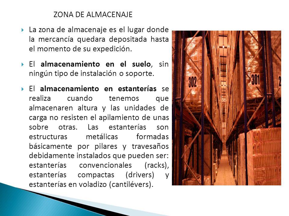 ZONA DE ALMACENAJE La zona de almacenaje es el lugar donde la mercancía quedara depositada hasta el momento de su expedición.