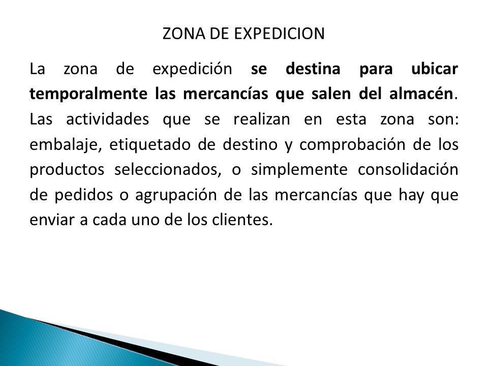 ZONA DE EXPEDICION La zona de expedición se destina para ubicar temporalmente las mercancías que salen del almacén.