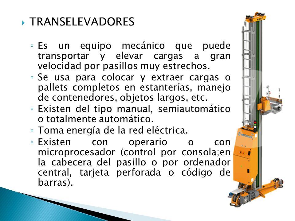 TRANSELEVADORES Es un equipo mecánico que puede transportar y elevar cargas a gran velocidad por pasillos muy estrechos.