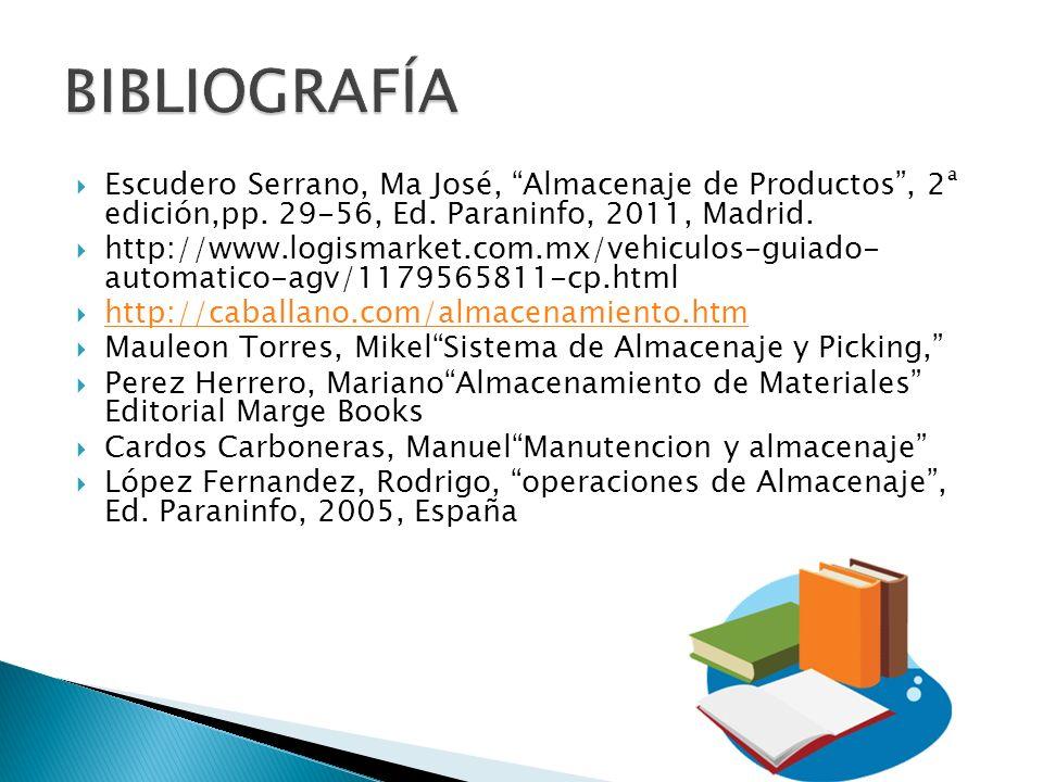 BIBLIOGRAFÍA Escudero Serrano, Ma José, Almacenaje de Productos , 2ª edición,pp. 29-56, Ed. Paraninfo, 2011, Madrid.