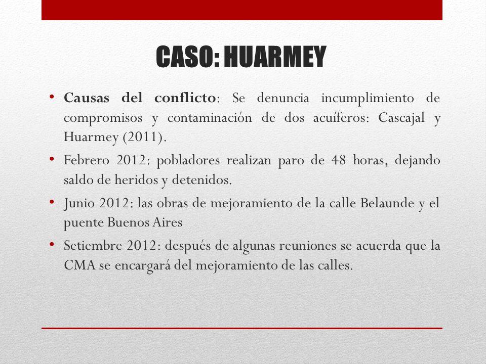 CASO: HUARMEY Causas del conflicto: Se denuncia incumplimiento de compromisos y contaminación de dos acuíferos: Cascajal y Huarmey (2011).