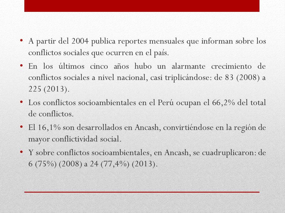 A partir del 2004 publica reportes mensuales que informan sobre los conflictos sociales que ocurren en el país.