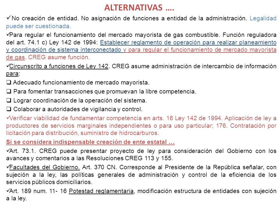ALTERNATIVAS …. No creación de entidad. No asignación de funciones a entidad de la administración. Legalidad puede ser cuestionada.