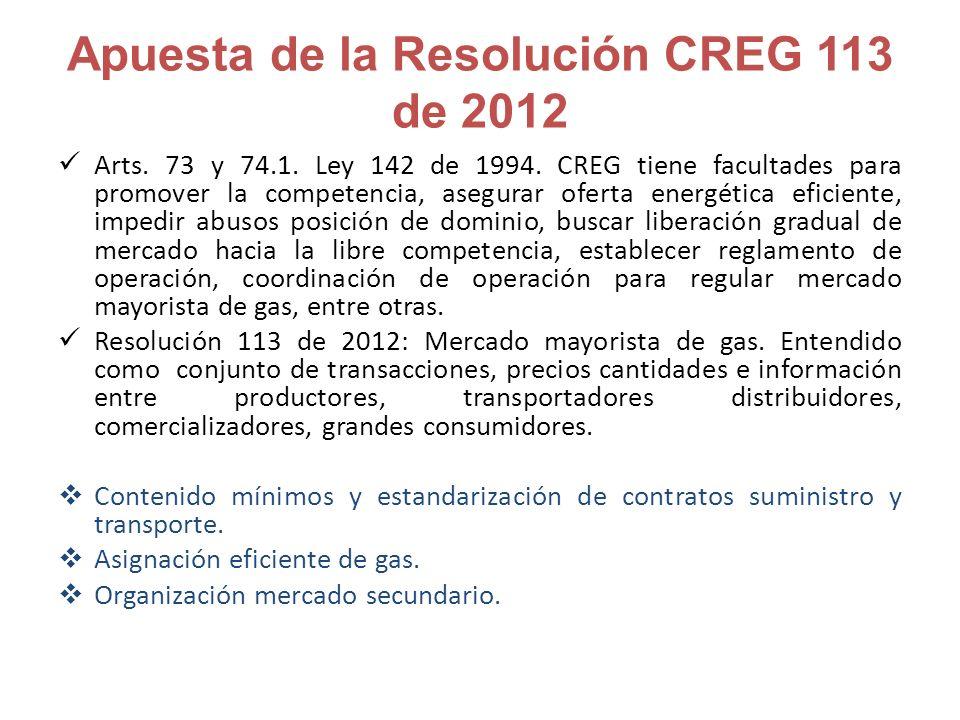 Apuesta de la Resolución CREG 113 de 2012