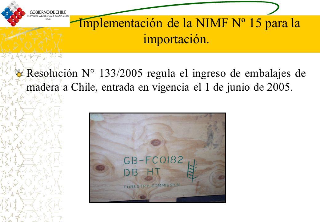 Implementación de la NIMF Nº 15 para la importación.