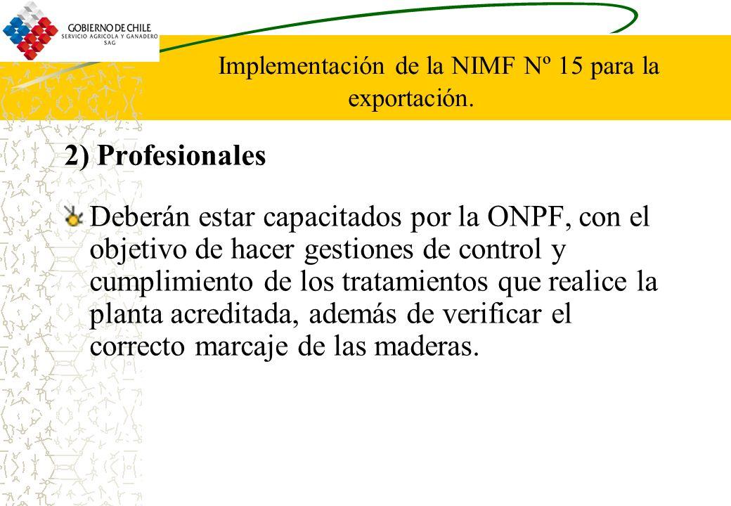 Implementación de la NIMF Nº 15 para la exportación.