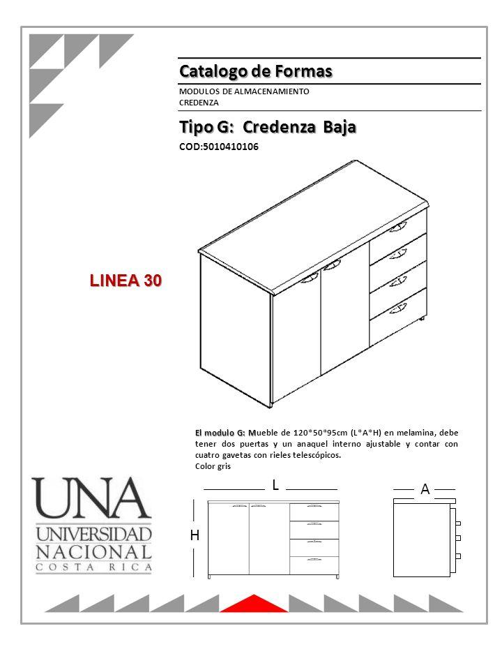 Catalogo de Formas Tipo G: Credenza Baja LINEA 30 L A H COD:5010410106