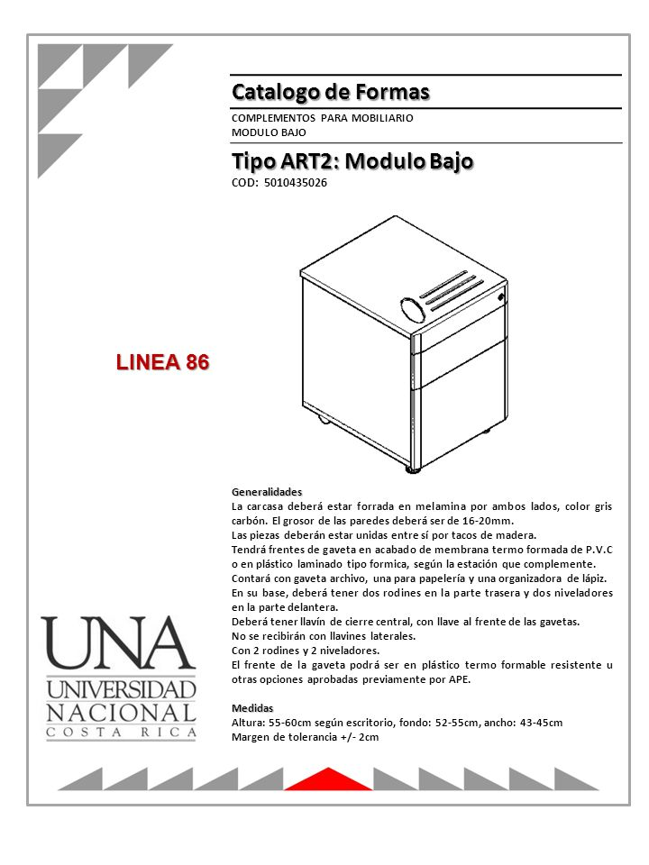 Catalogo de Formas Tipo ART2: Modulo Bajo LINEA 86