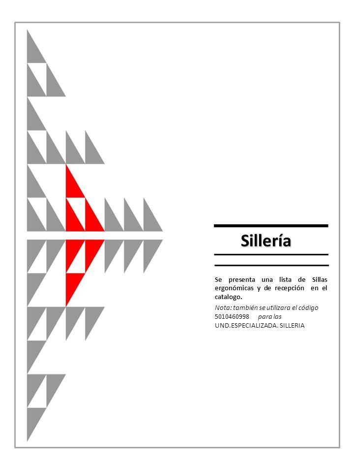 Se presenta una lista de Sillas ergonómicas y de recepción en el catalogo.