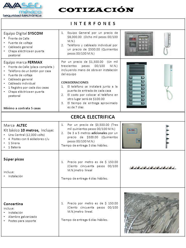 COTIZACIÓN CERCA ELECTRIFICA I N T E R F O N E S Equipo Digital SYSCOM