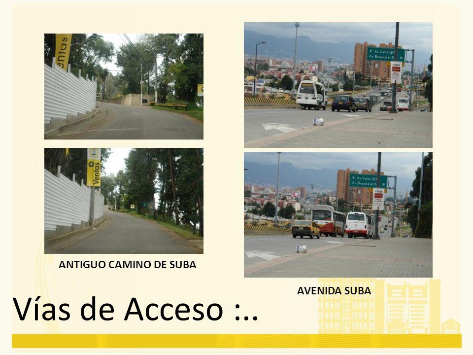 ANTIGUO CAMINO DE SUBA AVENIDA SUBA Vías de Acceso :..