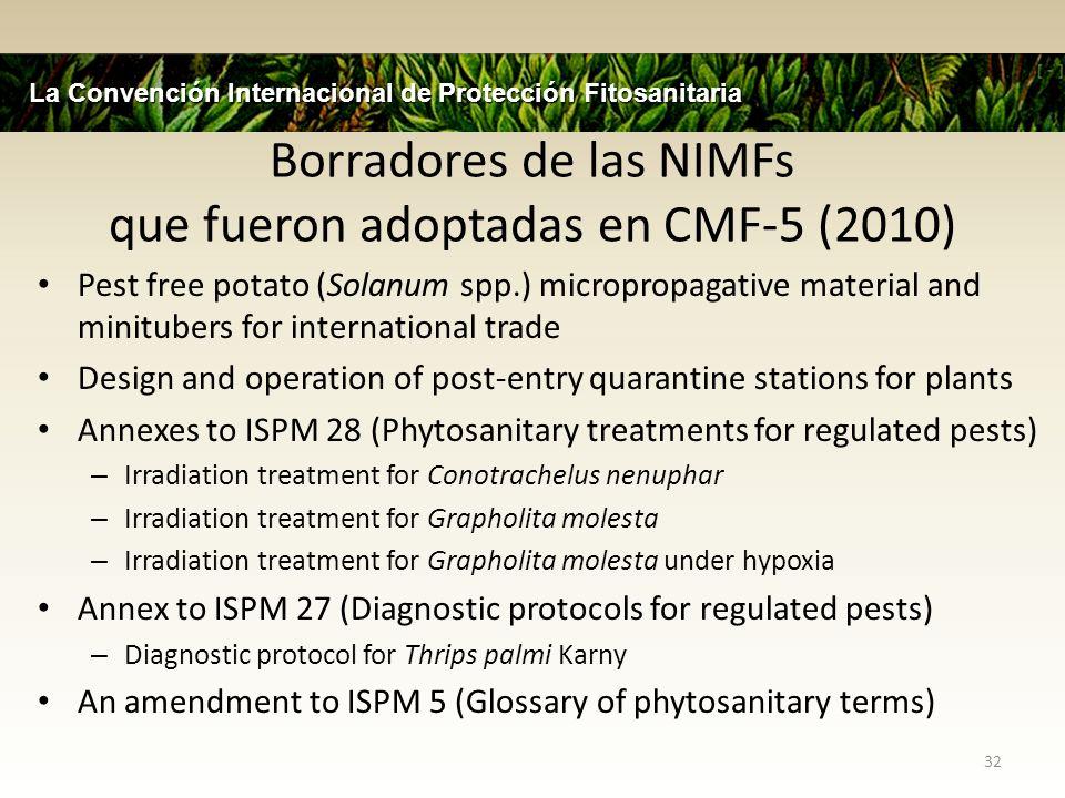Borradores de las NIMFs que fueron adoptadas en CMF-5 (2010)