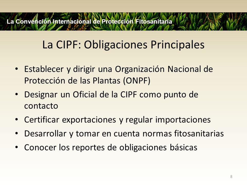 La CIPF: Obligaciones Principales
