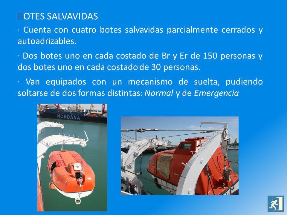 BOTES SALVAVIDAS · Cuenta con cuatro botes salvavidas parcialmente cerrados y autoadrizables.