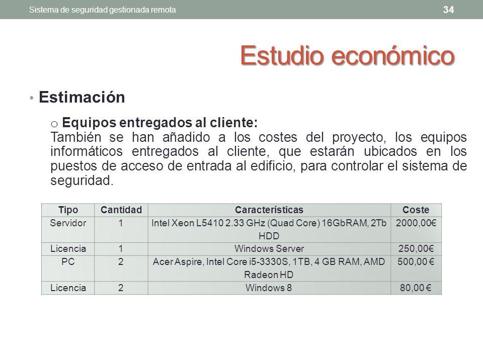 Estudio económico Estimación Equipos entregados al cliente: