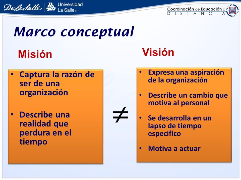  Marco conceptual Visión Misión