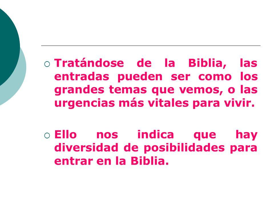 Tratándose de la Biblia, las entradas pueden ser como los grandes temas que vemos, o las urgencias más vitales para vivir.