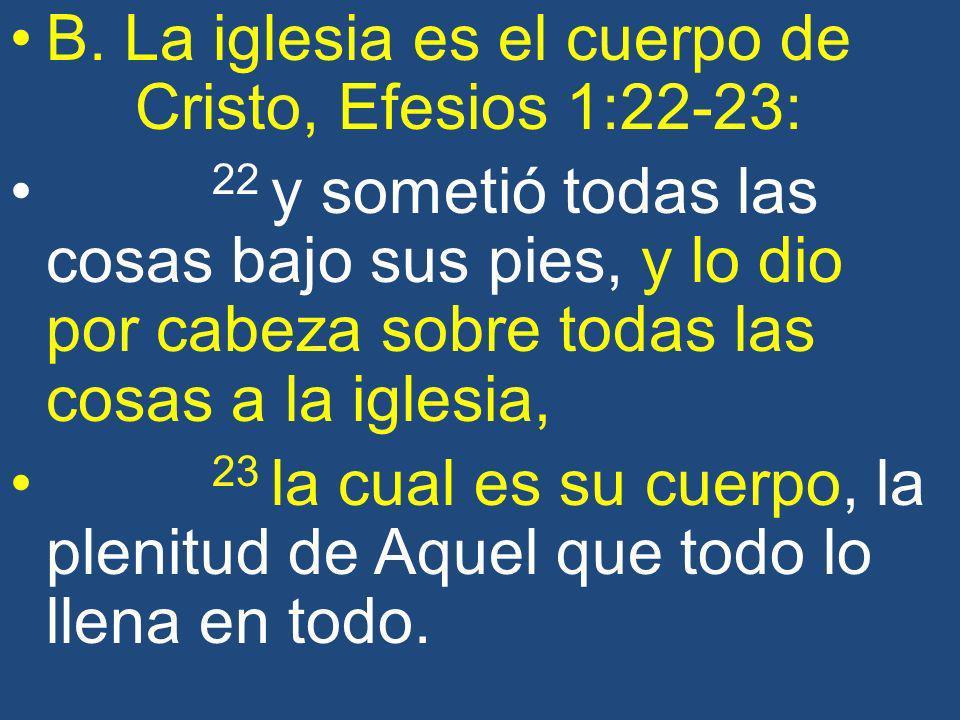 B. La iglesia es el cuerpo de Cristo, Efesios 1:22-23: