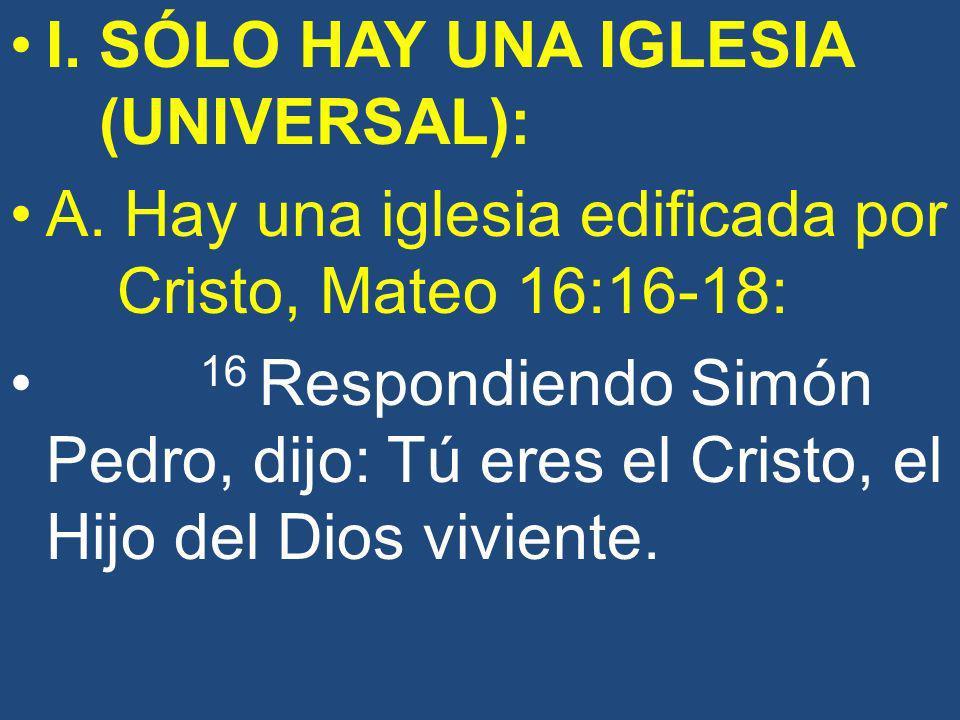 I. SÓLO HAY UNA IGLESIA (UNIVERSAL):