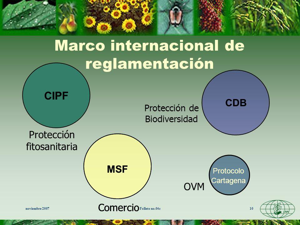 Marco internacional de reglamentación