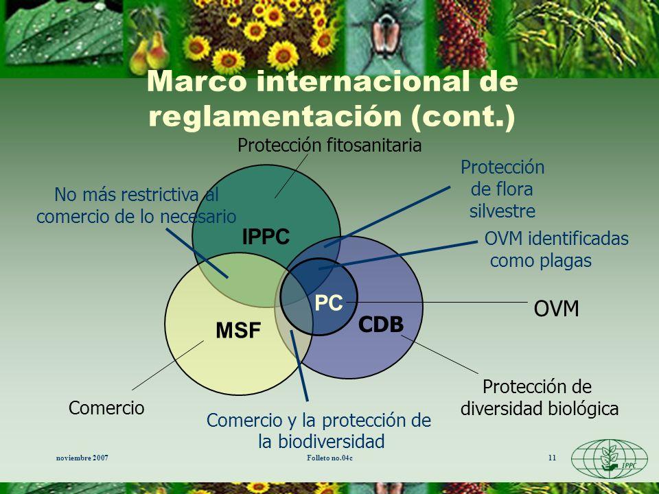 Marco internacional de reglamentación (cont.)