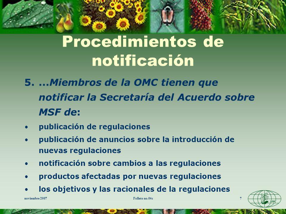 Procedimientos de notificación