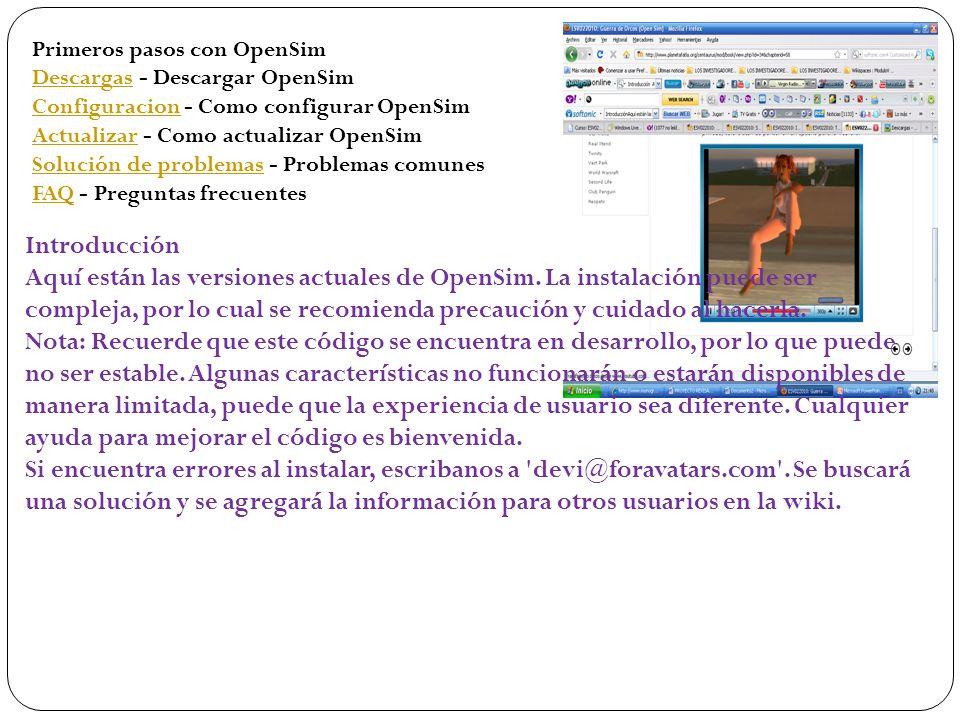 Primeros pasos con OpenSim