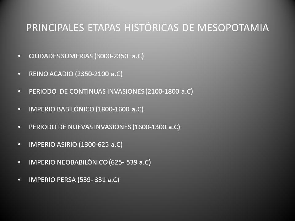 PRINCIPALES ETAPAS HISTÓRICAS DE MESOPOTAMIA