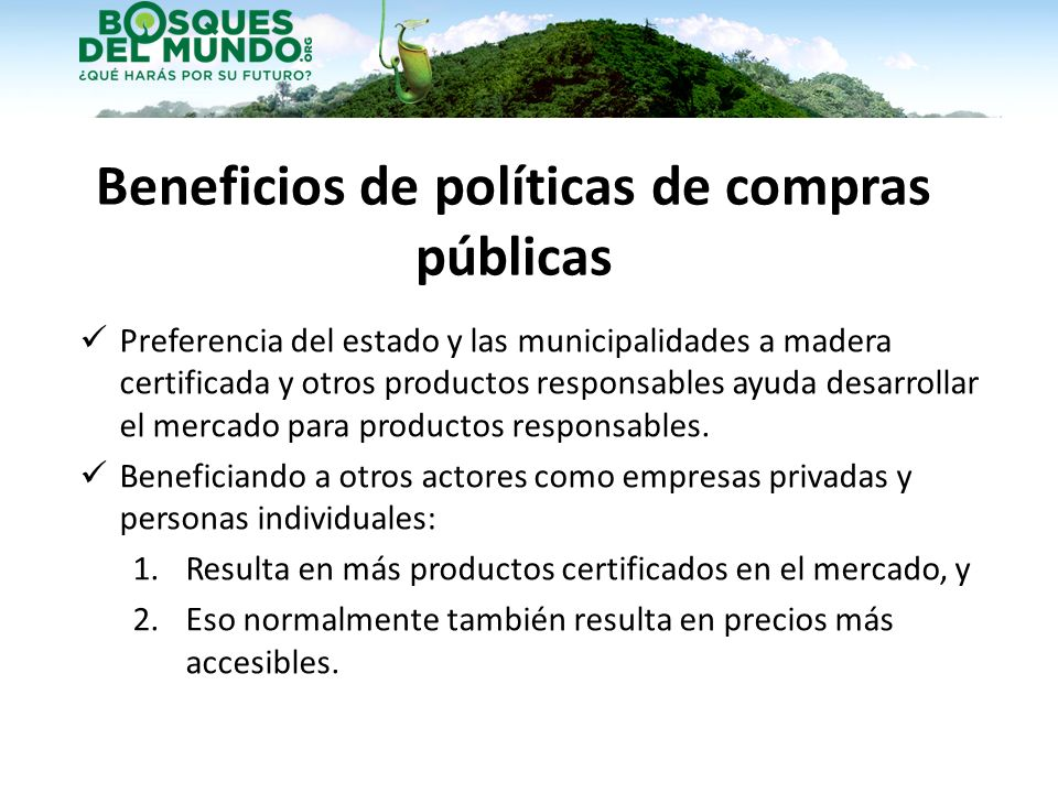 Beneficios de políticas de compras públicas