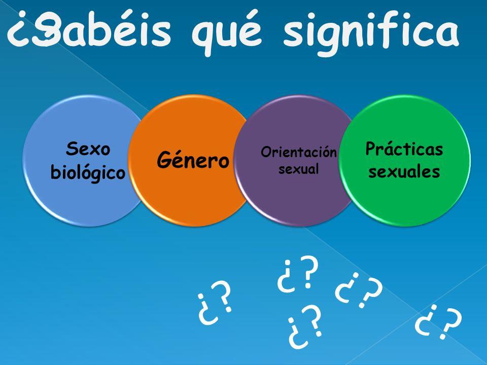 ¿ ¿ ¿ ¿ ¿ ¿ Sabéis qué significa Género Sexo biológico