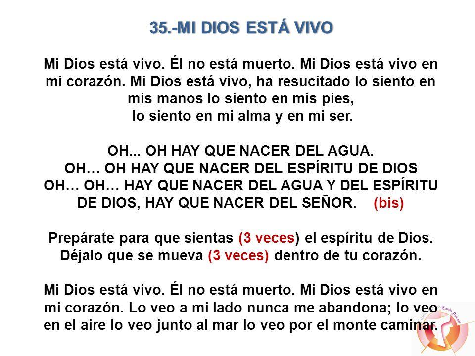 35. -MI DIOS ESTÁ VIVO Mi Dios está vivo. Él no está muerto